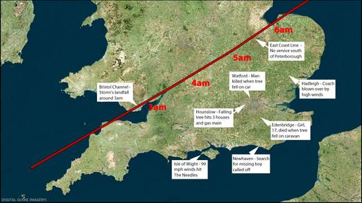 A map showing the passage of the storm's centre and trail of destruction (C) Sky News