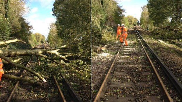 Workers have cleared the track at Alton in Hampshire, as this picture tweeted by South West Trains shows (C) South West Trains