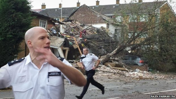 Three houses collapsed and two others were damaged in a suspected gas explosion in west London (C) BBC News