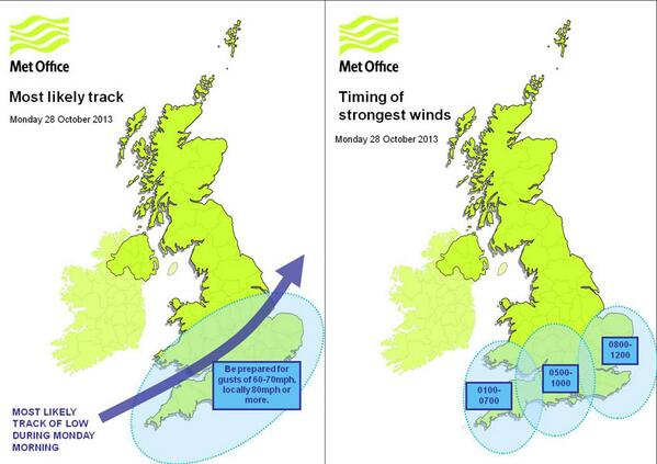 Latest predictions of the path the storm may take and the arrival times across the country (C) Met Office