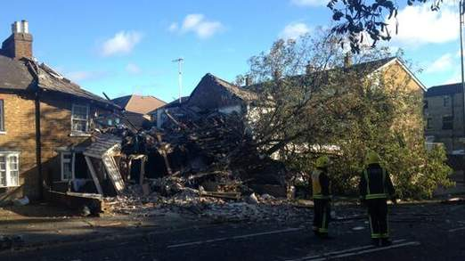 A tree crashes through several homes in Hounslow (C) London Fire Brigad
