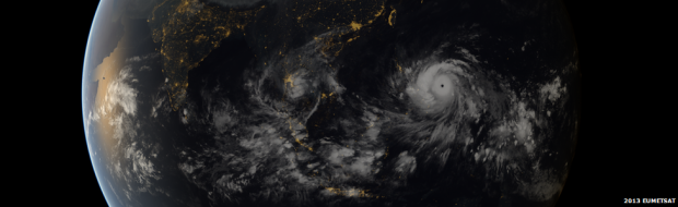 Satellite imagery showing the scale of Super Typhoon Haiyan