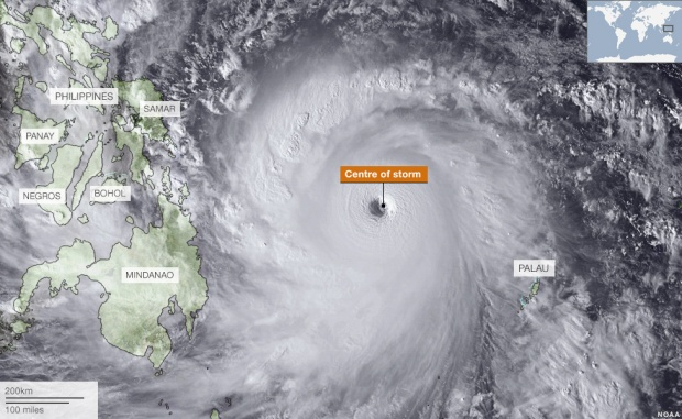 Satelitte imagery of Haiyan before making landfall(C) BBC