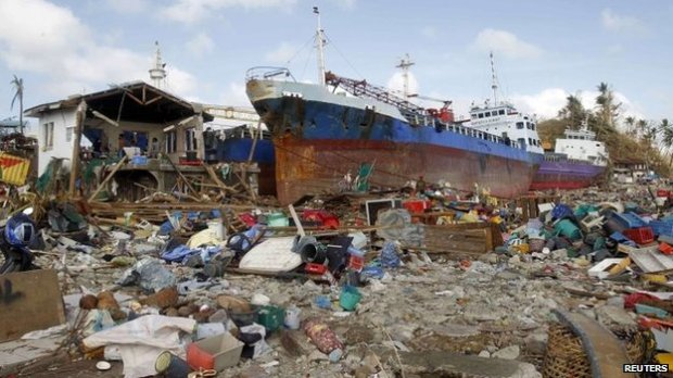 Among the hardest hit places was the city of Tacloban, where the ferocity of the storm waves swept this ship ashore. (C) BBC via Reuters News Agency