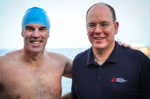 Lewis Pugh with Prince Albert II of Monaco at the end of the opening leg of the expedition. Image: UNEP.