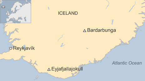 Location of the Bárðarbunga volcano in relation to the Eyjafjallajokull volcano which erupted in 2010. Image: BBC News.